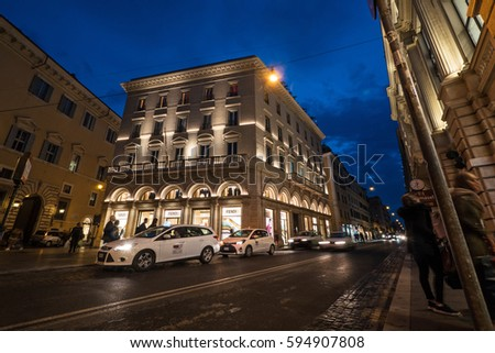 ROME, ITALY - CIRCA OCTOBER, 2016: Fendi store at night. Fendi is an Italian luxury fashion house producing fur, apparel, leather goods, shoes, fragrances, eyewear, timepieces and accessories.