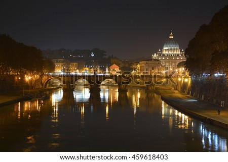 Rome (Italy), cityscape from a bridge of Tiber river: The Papal Basilica of St. Peter in the Vatican