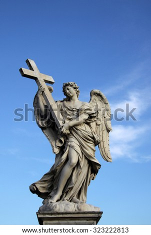 ROME, ITALY - DECEMBER 20, 2011: Angel statue on the Ponte Sant Angelo in Rome, Italy