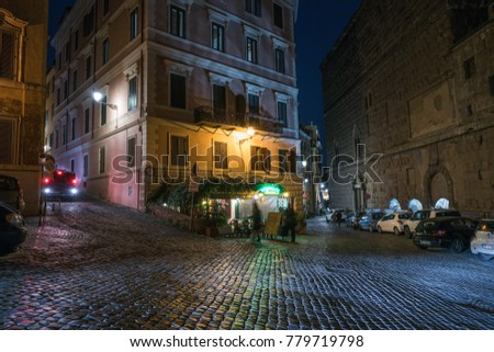 Rome, Italy - December 1, 2017: City street in the nighttime