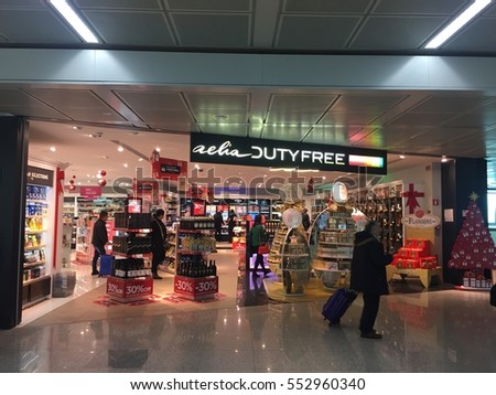 Rome, Italy - December 24, 2016: Duty free shop in Leonardo Da Vinci airport. Fiumicino â?? Leonardo da Vinci International Airport or Rome Fiumicino Airport is a major international airport in Rome