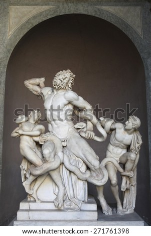 ROME, ITALY - DECEMBER 19, 2011: Hellenistic marble statue Laocoon and His Sons displayed in the Museo Pio Clementino of the Vatican Museums in Rome, Italy. - stock photo