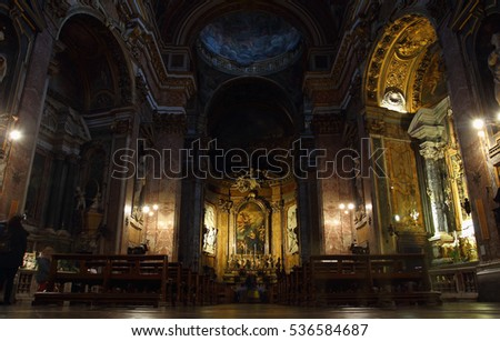 ROME, ITALY - DECEMBER 13, 2016: people inside the Church of Santa Maria maddalena in Campo Marzio