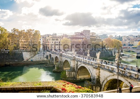 ROME, ITALY - 1 December 2015: Ponte Aelius (bridge) over the Tiber River with the old city