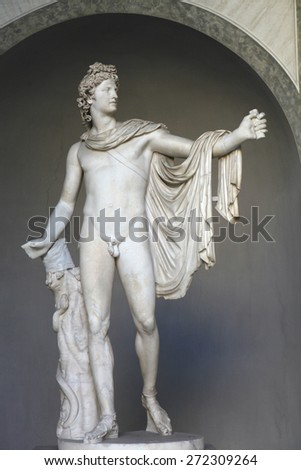 ROME, ITALY - DECEMBER 19, 2011: Roman marble statue Apollo Belvedere displayed in the Museo Pio Clementino of the Vatican Museums in Rome, Italy. - stock photo