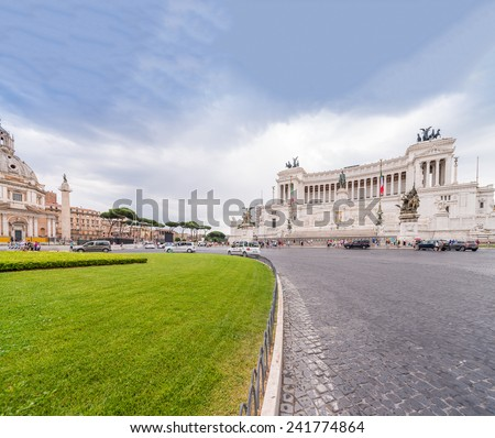 Rome, Italy. Equestrian monument to Victor Emmanuel II near Vittoriano. - stock photo