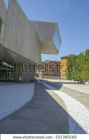 Rome Italy 7/5/2015: External view of the Maxxi National Museum. It is a national museum of contemporary art designed by British architect Zaha Hadid in 2010. Rome Italy