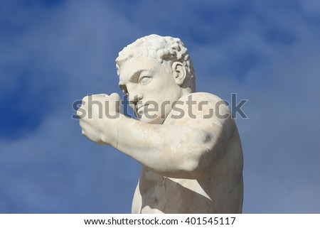 ROME, ITALY - FEBRUARY 9, 2016: Boxer statue in the Stadio dei Marmi , Stadium of the Marbles in the Foro Italico designed in the 1920s by Enrico Del Debbio