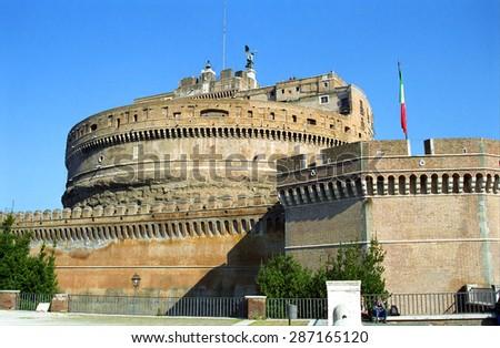 ROME, ITALY -FEBRUARY 18: Castel Sant'Angelo at February 18, 2003, Rome, Italy. Sant'Angelo was built to be the mausoleum of Emperor Hadrian. - stock photo