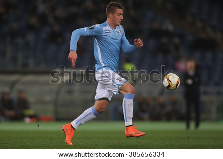 ROME, ITALY - FEBRUARY 21, 2016 :Milinkovic  in action during fotball match  UEFA LEAGUE 2016 between SS LAZIO VS AS GALATASARAY  at the Olimpic Stadium  on Februry 21, 2016 in Rome.