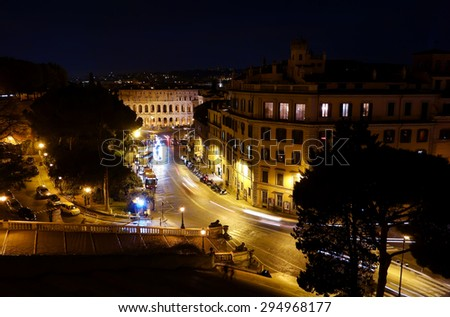 ROME, ITALY - FEBRUARY 13, 2015:  Night overview of the Theatre of Marcellus, ancient open-air theatre