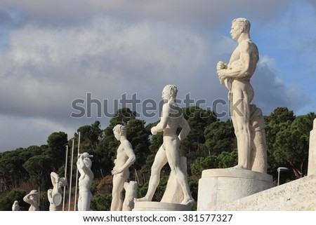 ROME, ITALY - FEBRUARY 9, 2016: Statues in the Stadio dei Marmi , Stadium of the Marbles in the Foro Italico designed in the 1920s by Enrico Del Debbio