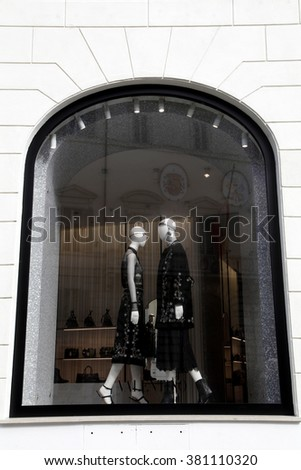 ROME, ITALY - FEBRUARY 21 2016: The window of Valentino SpA store at Piazza Mignanelli in Rome, Italy   - stock photo