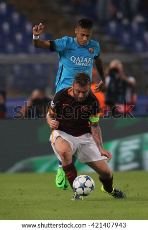 "ROME, ITALY - FEBRURY 2016 : De rossi Neymar in action during football match  of Italian League ""Serie A"" between A.s. Roma  vs Barcellona at the Olimpic Stadium  on Februry 7, 2016 in Rome."