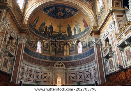 ROME, ITALY - JANUARY 11, 2014:  Apse of Lateran basilica of st. John with the mosaic created in 1291-1292