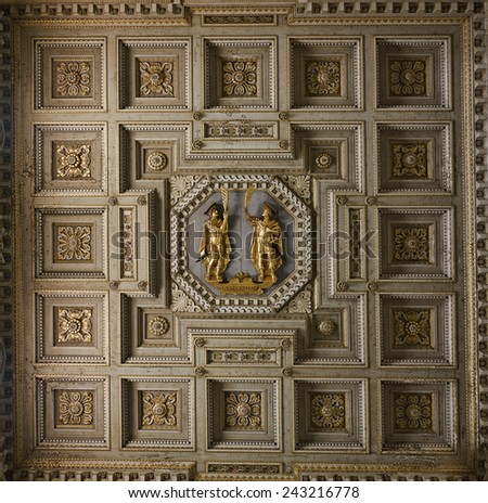 ROME, ITALY - JANUARY 4, 2014: Basilica di Santi Giovanni e Paolo church, detail of the ceiling with the saints - stock photo