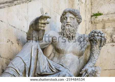 Rome, Italy, - January 05, 2015: Campidoglio square, The Nilo Statue dating IV Century