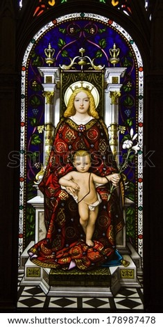 ROME, ITALY - JANUARY 01: Mother and Child, stained glass in Vatican Museum on JANUARY 01, 2012 in Rome, Italy - stock photo