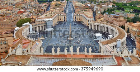 Rome, Italy - January 1, 2008: Piazza San Pietro (St.Peter's Square), Vatican City, Rome, Italy - stock photo