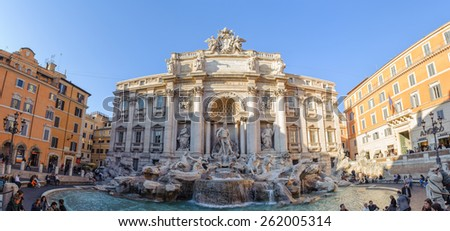 ROME, ITALY - JANUARY 21, 2010: Trevi fountain, Fontana di Trevi in Italian, is a fountain in Rome, Italy. It is famous in the world and the largest Baroque style fountain in the Rome. - stock photo