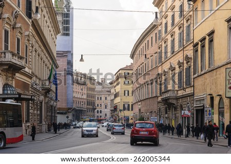 ROME, ITALY - JANUARY 24, 2010: View of General street in Rome, Italy.