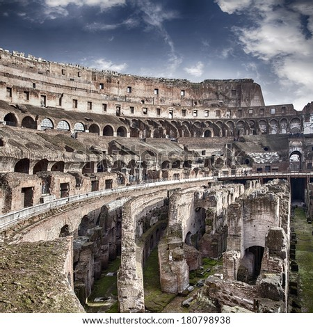 ROME, ITALY - JANUARY 07, 2014: View of the inside of the Colosseum on January 07  in Rome, Italy.