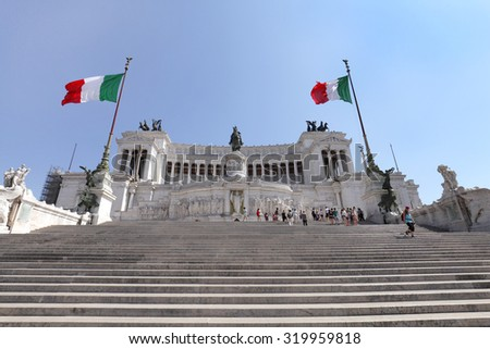 ROME, ITALY - JULY 18: Altare Della Patria in english called as Altar of the Fatherland located at Piazza Venezia on July 18, 2015, Rome, Italy