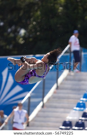 ROME, ITALY, JULY 18 : Canadian diver Meaghan Benfeito competes during the diving Women's 10m final on July 18, 2009 at the FINA World Championships in Rome. Paola Espinosa from Mexico won gold.