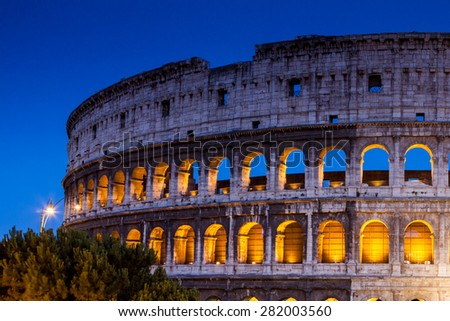 ROME, ITALY - JULY 21: Exterior views of the Colosseum and the places around, in Rome on July 21, 2012. Rome is the capital of Italy and region of Lazio.