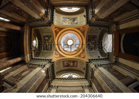 ROME, ITALY - JULY 9, 2014: Interior of the Neoclassic Dome, Basilica of Saints John and Paul located on the Celian Hill. It is also called Santi Giovanni e Paolo al Celio - stock photo