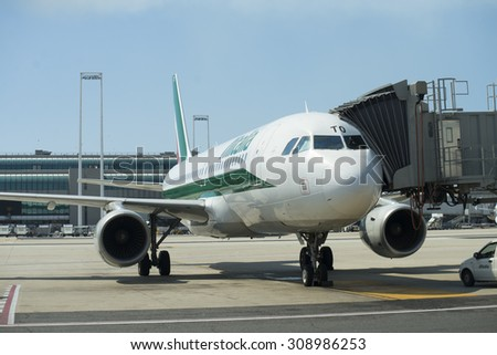 Rome, Italy July 29, 2015: Jet aircraft docked in international airport on July 29 , 2015 in Italy