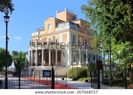 Rome, Italy - July 02: restaurant Casina Valadier on July 02, 2014, Villa Borghese, Rome, Italy restaurant with exclusive 19th century atmosphere situated in palace by architect Giuseppe Valadier