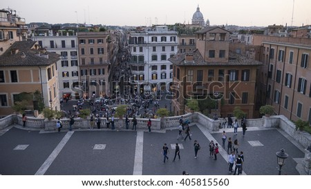 ROME, ITALY - July 03, 2013: The Spanish Steps and Piazza di Spagna (Spain Square) at sunset in Rome,  - stock photo