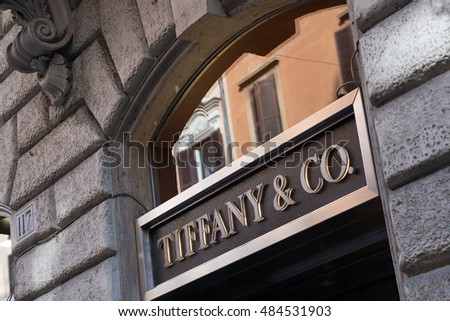 Rome, Italy - July 6, 2016: Tiffany store window. Tiffany & Company (known colloquially as Tiffany or Tiffany's) is an American luxury jewelry and specialty retailer, headquartered in New York City