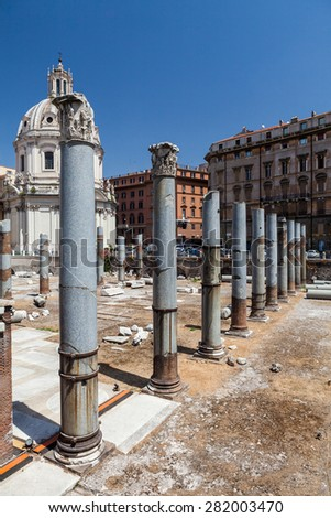 ROME, ITALY - JULY 21: View to the Forum of Augustus and the buildings around in Rome on July 21, 2012. Rome is the capital of Italy and region of Lazio.