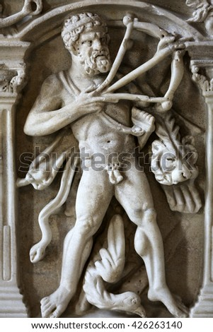 ROME, ITALY - JUNE 12, 2015: Bas-relief on the ancient sarcophagus in the baths of Diocletian in Rome. Italy