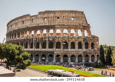 ROME, ITALY - JUNE, 6: Beautiful view of the ruins of the Colosseum in Rome on 6 june 2012 - stock photo