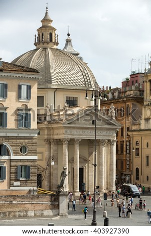 ROME, ITALY - JUNE 14, 2015: Church of  Santa Maria di Montesanto  in Rome on the Piazza del Popolo. - stock photo