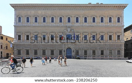 ROME, ITALY - JUNE 29: French Embassy in Rome on JUNE 29, 2014. Historic Building of Renaissance Palace Farnese at Piazza Farnese in Rome, Italy. - stock photo