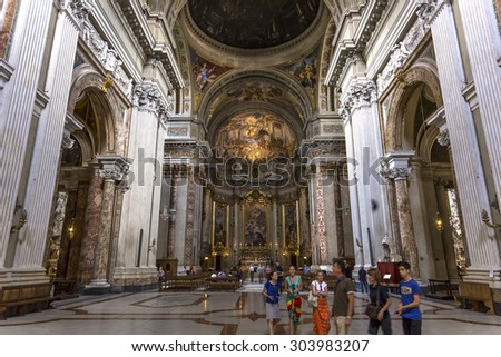 ROME, ITALY, JUNE 16, 2015 : Frescoes of Andrea Pozzo on sant  Ignazio church ceilings, june 16, 2015, in Rome, Italy