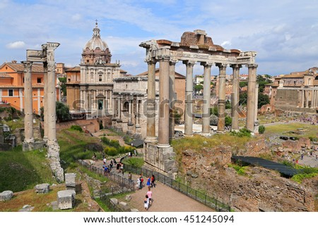 ROME, ITALY - JUNE 11, 2016: Image of Roman Forum in Rome, Italy