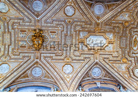 ROME, ITALY - JUNE 25: Interior of St. Peter's Basilica in Vatican on June 25, 2014. St. Peter's Basilica is one of the main tourist attractions of Rome. - stock photo