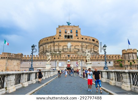ROME, ITALY - JUNE 20: Many tourists from all over the world visiting the famous medieval castle of Sant' Angelo in Rome, Italy on June 20, 2015.  - stock photo