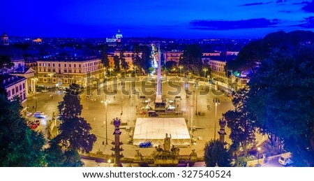 ROME, ITALY, JUNE 1, 2014: people are gathering under the central column on piazza del popolo during first night in june - stock photo