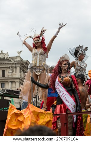 ROME, ITALY - JUNE 13, 2015: Rome hosts a popular Pride celebration - Rome Gay Pride on June 13, 2015.  Rome Gay Pride parade takes place on this day, drawing thousands of spectators and participants
