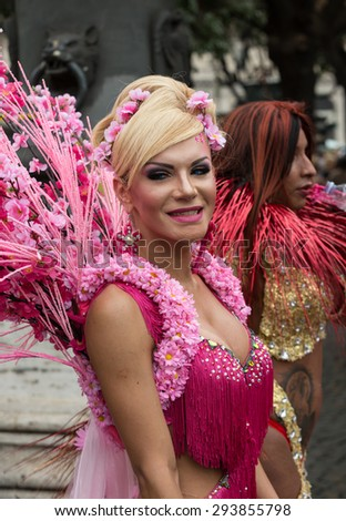 ROME, ITALY - JUNE 13, 2015: Rome hosts a popular Pride celebration - Rome Gay Pride on June 13, 2015.  Rome Gay Pride parade takes place on this day, drawing thousands of spectators and participants  - stock photo