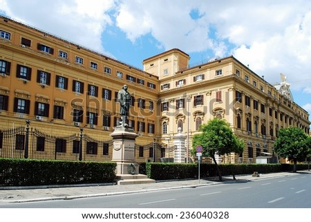 ROME, ITALY - JUNE 1: Sculpture in the Rome city to Silvio Spaventa on June 1, 2014, Rome, Italy. Silvio Spaventa was Italian journalist, statesman who played a leading role in unification of Italy.