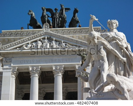 Rome, Italy - June 17, 2015: Statues of Victor Emmanuel II complex. National Monument to Victor Emmanuel II (Altare della Patria) built in honour of Victor Emmanuel - first king of a unified Italy.