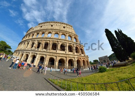 Rome, ITALY - JUNE 01: The Rome Colosseum in Rome, Italy on June 01, 2016 - stock photo