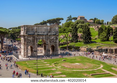 ROME, ITALY - JUNE, 6: The triumphal arch of Constantine in Rome on 6 june 2012